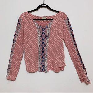 Lucky Brand Pink Long Sleeve Crop Top